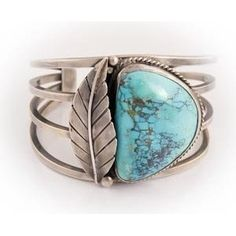 Navajo jewelry - Vintage Silver Large Morenci Turquoise Cuff Bracelet