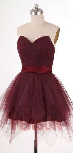 Magnifique robe de bal courte bordeaux bustier coeur drapé pour fête commen Noël et Nouvel An Tulle, Rose Fuchsia, Nouvel An, Bordeaux, Formal Dresses, Fashion, Strapless Maxi, Rose Pink Dress, Ballroom Dress