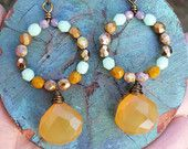 Amber Chalcedony EARRINGS Colorful, Glass Beads, Lightweight, Hypoallergenic, Gypsy, Hippie, Bohemian Style, *Made-to-order*