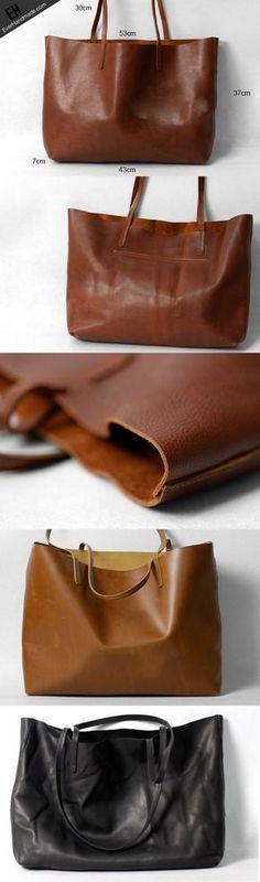 moderno do couro do vintage marrom bolsa de ombro Handmade preto grande sacola | EverHandmade