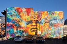 """On Monday, we dedicated """"Colorful Legacy"""" by @amberpublicart's @willisnomo and Keir Johnston. The mural is the culmination of months of workshops as part of of Building Brotherhood: Engaging Males of Color, a partnership with @dbhids.  You can find the mural at 4008 Chestnut Street.  Photo by @steveweinik"""