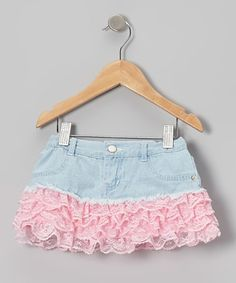 Take a look at this Pink Lace Denim Skirt - Toddler & Girls by Just Fab Girls on #zulily today!