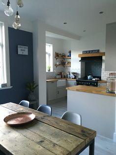www.overatkates.com Little Greene Juniper Ash / kitchen diner / open plan living / rangemaster