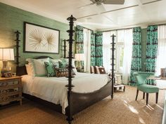 This formal four-poster bed dominates the master bedroom and looks at home on a rug of abaca grass. Bedroom Artwork, Master Bedroom, Bedroom Decor, Fancy Bedroom, Bedroom Sets, Master Bath, Design Tropical, Tropical Colors, Genius Ideas