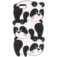 3D Trio of Pandas Phone Case iPhone 6/6s ($9.50) ❤ liked on Polyvore featuring accessories, tech accessories, animals, decor, panda and stack