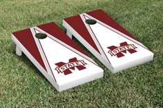 NCAA Mississippi State University Bulldogs Triangle Wooden Script Cornhole Game Set