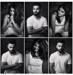 Black n white Anushka Sharma Virat Kohli, Virat And Anushka, Bollywood Couples, Bollywood Stars, Virat Kohli Wallpapers, Poses For Men, Sweet Couple, Black N White, Couple Posing