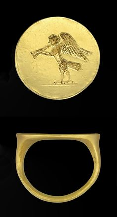 A GREEK GOLD FINGER RING, CLASSICAL PERIOD, CIRCA 4TH CENTURY B.C. Solid-cast with a plain hoop, rounded on the exterior and bevelled on the interior, expanding at the shoulders to the large round bezel, engraved with a siren standing on a short groundline, playing the aulos, her wings upraised. .15/16 in. (2.3 cm.) wide