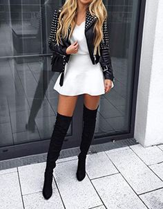587daacf51f Black Point Toe Stiletto Casual Over-The-Knee High Heel Outgoing Fashion  Boots -