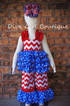 Hey, I found this really awesome Etsy listing at https://www.etsy.com/listing/187869811/girls-boutique-patriotic-ruffle-outfit