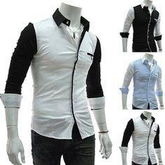 Contrast Color Leisure Slim Fit Mens Cotton Long Sleeved Shirt