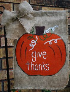 Fall Thanksgiving Burlap Garden Flag with Bow by annieslittlehouse