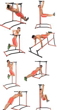 Meet the GoBeast Pull Up Bar & Dip Stand: a portable power tower that lets you try over 35 exercises to build strength in your body. Home Made Gym, Diy Home Gym, Gym Room At Home, Home Gym Garage, Basement Gym, Home Gym Equipment, No Equipment Workout, Calisthenics Workout, Calisthenics Equipment