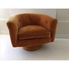 Milo Baughman Style Swivel Chair