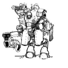 Quadpedal Strogg Heavygunner with a superlarge chaingun as his right hand and holding an ammofeedig device in his left hand. Race: Strogg/Processed Human Height: 350 cm Weight: 1000 kg Weapon: Heav...