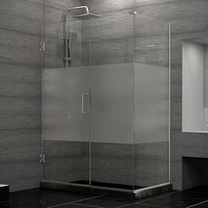DreamLine Unidoor Plus 30.375 - 34.375 in. D x 33 in. W Frameless Hinged Shower Enclosure, Half Frosted Glass, Brown