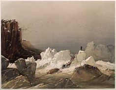 """Cresswell. """"Sledging over hummocky ice. April, 1853.""""    Cresswell returned to England with his men in 1853, aboard the supply ship Phoenix, becoming the first men to travel the Northwest Passage. Captain McClure and most of the crew were forced to spend another winter (1853-54) in the Arctic because the Resolute was also frozen in."""