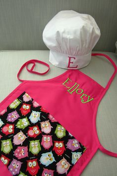 Personalized Kids Apron and Chef Hat - Custom Monogrammed Children's Smock and Hat. $25.00, via Etsy.