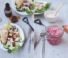 Caesar Salad mit knusprigen Hähnchen und Parmesan