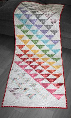 "Our new ""Running Triangles"" quilt pattern. Bed runner and table runner sizes in the pattern."