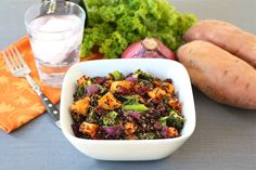 Quinoa Salad with Roasted Sweet Potatoes, Kale, Dried Cranberries, & Red Onion Recipe Salads, Side Dishes with sweet potatoes, purple onion, olive oil, salt, kale, balsamic vinegar, black quinoa, water, salt, dried cranberries