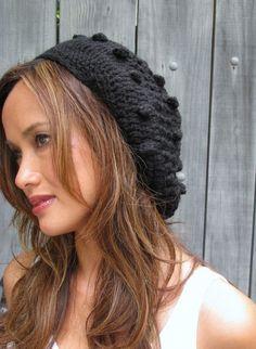 Black Slouchy Hat Wool Bobble Beanie Handmade Cap Chunky Beanie Knit Womens  Hat Boho Tam Chic Bohemian Caps - or CHOOSE Your Color e25fdef9cf1