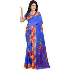 Striking Blue Color Heavy Georgette Printed Saree at just Rs.480/- on www.vendorvilla.com. Cash on Delivery, Easy Returns, Lowest Price.