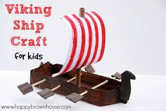 Using common household materials and some recycled materials, make a Viking Ship that will be played with over and over and extend a Viking Unit learning through small world play.