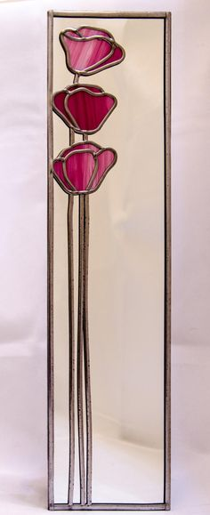 Poppies Mackintosh style stained glass effect mirror handmade gift Catfish Glass Art Deco by Catfishglass on Etsy