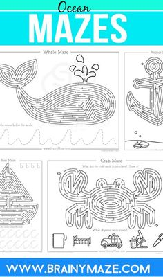 Free Ocean Maze Activity Pages! Fun Whales, Boats, Crabs and more, children… Learn Handwriting, Improve Your Handwriting, Mazes For Kids Printable, Worksheets For Kids, Maze Worksheet, My Father's World, Activities For Adults, School Items, Ocean Themes