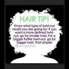 Twist out hair tip