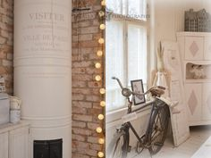 Old fire place, brick walls and pastels. Rue Montmartre, Paris Ville, French Farmhouse, Country Style, Ladder Decor, Interior Decorating, Sweet Home, Villa, Brick Walls