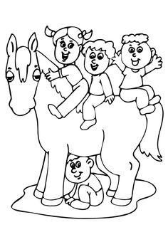 Coloriage de petits enfants jouant sur un cheval