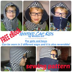 'Hooded Cap Kids' FREE eBook sewing pattern & instructions