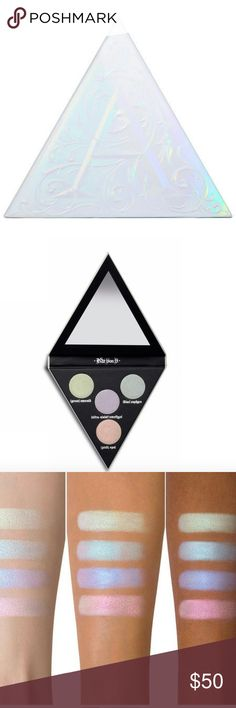 💁Host Pick!!!🌷KVD Alchemist Palette🍭 Limited💙 💦KVD's super-special hybrid formula features DoubleDimension Technology: 360??refractive pearls dipped in a prismatic coating, for 2 times the transforming power with every stroke of your brush (bonus: a little goes a long way!). Part highlighter, part topcoat, part transformer, this palette is filled with endless luminizing possibilities: Strobe cheekbones, eyes, nose, lips, collarbone.. 🌸Alchemist literally anywhere you want an extreme…