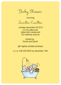 Bath Toys Baby Shower Invitation Cards HPBS247