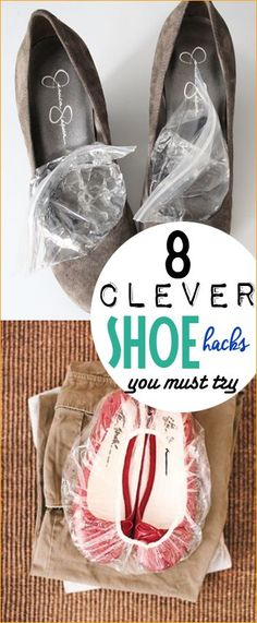 8 Clever Shoe Hacks.  Tips and tricks to cleaning shoes, packing shoes and stretching shoes that are just too tight.  Cool ideas on making shoes more comfortable and avoiding blisters.