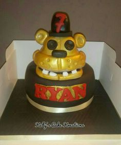 Five nights at freddys cake Ryan Kelly, Kelly S, Five Nights At Freddy's, Birthday Cake, Treats, Homemade, Desserts, Food, Goodies