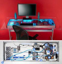 Geek design...liquid-cooled-computer-desk-combo! Pretty damn cool!