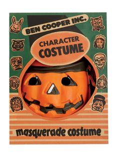 c. 1958 boy's pumpkin masquerade costume features a plastic mask and a cotton skeleton outfit. It sold originally for $1.99.