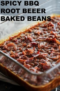These Spicy BBQ Root Beer Baked Beans are the perfect bbq or potluck side dish. They aren't all that spicy, but they are definitely full of delicious bbq flavor. Baked Beans From Scratch, Canned Baked Beans, Baked Beans Crock Pot, Best Baked Beans, Baked Bean Recipes, Beans Recipes, Cowboy Baked Beans, Cowboy Beans, Potluck Side Dishes