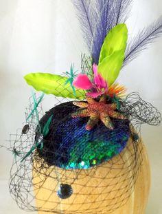 Little Mermaid Sequin Cocktail Hat.  Ursula, Mermaid, Starfish, Under The Sea, Sequin, Ocean, Seaweed, Pillbox, Fascinator, Headpiece by ChefBizzaro on Etsy