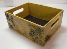 PAINTED wood Gear Box by Meenchie82 on Etsy