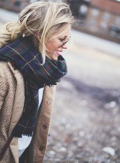 big scarf, cute jacket, plain tee, messy bun with some aviators = my favorite kind of outfit