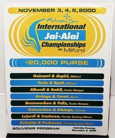 RARE International Championships MILFORD Jai-Alai Program November 4 2000 1978 | eBay