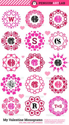 My Valentine Monogram SVG Frames Heart Valentine's Day Cut Files for Cutting Machines, Cricut, Silhouette - Svg, Dxf, Eps, Png, Studio3 by PenguinArtLab on Etsy https://www.etsy.com/listing/491550472/my-valentine-monogram-svg-frames-heart