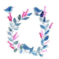 Cute, bright and cheery floral wreath w/ blue watercolor foliage & birds with pink flowers  -.Miss Capricho