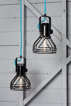 Industrial Lighting - Mid Century Modern Cage Light Pendants - Two Hanging Lamps. $435.00, via Etsy.