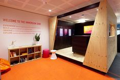 Customer experience centre and showroom for Telstra, featuring a bespoke mobile pod Experience Center, Customer Experience, Showroom, Bespoke, Centre, Display, Furniture, Design, Home Decor