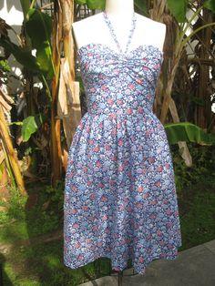 Sweet floral 1940s style vintage style halter by nudeedudee